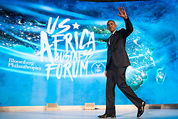 NEW YORK, NEW YORK - SEPTEMBER 21: U.S. President Barack Obama exits the stage after speaking at the U.S.-Africa Business Forum at the Plaza Hotel, September 21, 2016 in New York City. The forum is focused on trade and investment opportunities on the African continent for African heads of government and American business leaders.<br /> Photo by Drew Angerer/Pool/ABACAPRESS.COM