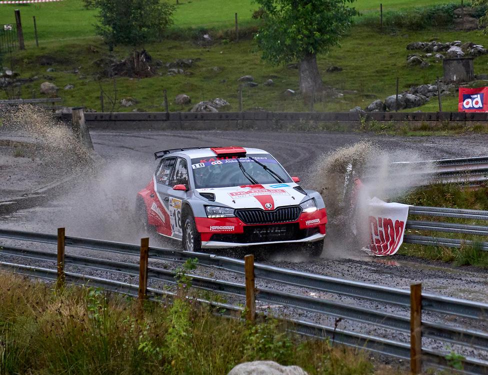 2021-08-27 ÄLMHULT<br /> South Swedish Rally 2021<br /> <br /> Matthias KahleRRC Lausitz<br /> Christian DoerrRRC Lausitz<br /> Škoda  Fabia Rally2 Evo<br />  ***betalbild***<br /> <br /> Foto: Peo Möller<br /> <br /> South Swedish Rally 2021, rally, rallybil, grusväg, tävling, Älmhult, SM, deltävling, regn, Sydsvenska Rallyt 2021