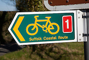 Close up of direction sign for coastal cycling route, Suffolk, England