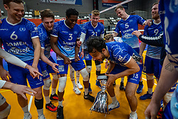 Hossein Ghanbari of Lycurgus, Jerome Cross of Lycurgus, Jesper van Muiden of Lycurgus, Bennie Tuinstra of Lycurgus celebrate after the cup final between Amysoft Lycurgus vs. Draisma Dynamo on April 18, 2021 in sports hall Alfa College in Groningen