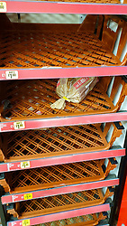 © Licensed to London News Pictures. 21/12/2020. London, UK. Empty shelves in Iceland supermarket in north London as shoppers buy festive groceries, just four days before Christmas day amid a French ban on British hauliers. France closed its border to UK travellers from 11pm last night as London, the South East of England and many parts of the UK went into Tier 4 lockdown as a new variant of the COVID-19 virus continues to spread. Photo credit: Dinendra Haria/LNP