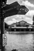 Marlow, Bucks , United Kingdom, <br /> <br /> General View, GV, Posted signs for the Thames Path,<br /> <br /> Thursday  15/06/2017<br /> <br /> <br />  © Peter SPURRIER