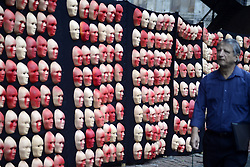 June 1, 2017 - Sao Paulo, Brazil - Red masks, part of the activist group Rio de Paz's art installation of masks symbolizing Brazil's President Michel Temer and 594 Brazilian lawmakers, stand during a protest against corruption, political reforms and Temer's presidency in  the Paulista Avenue in Sao Paulo, Brazil, on Thursday, June 1, 2017. Brazil's unpopular President has held on to office for over a year after the impeachment of his predecessor, backed mostly by Congress and financial markets. Under the weight of new corruption allegations against him, that support is crumbling. (Credit Image: © Cris Faga/NurPhoto via ZUMA Press)