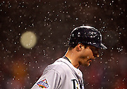 OT_296652_CASS_rays_20<br /> BRIAN CASSELLA   |   Times<br /> (10/27/2008 PHILADELPHIA) Rocco Baldelli after being forced out at second base in the fifth inning.<br /> <br /> <br /> MAJOR LEAGUE BASEBALL - Tampa Bay Rays vs Philadelphia Phillies in Game 5 of the World Series at Citizens Bank Park on Monday (10/27/08).