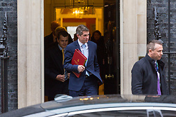 London - Defence Secretary Gavin Williamson leaves the weekly meeting of the UK cabinet at Downing Street. January 23 2018.