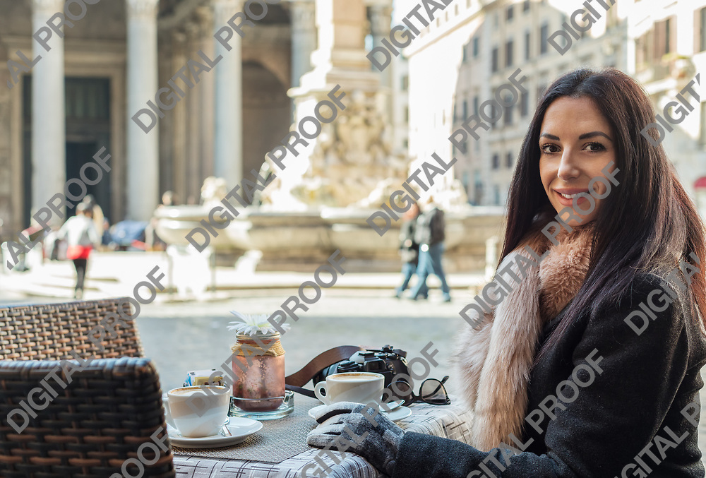 Happy woman in the morning sitting street cafe in Rome in front of Pantheon Italy, Rome.