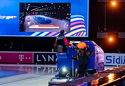 Ice cleaning with the mascotte during ISU World Short Track speed skating Championships on March 06, 2021 in Dordrecht
