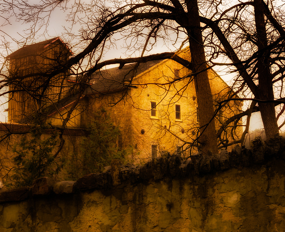 Atmosphere and sense of endurance project from this old mill with trees and sepia tones lending a spooky feeling.