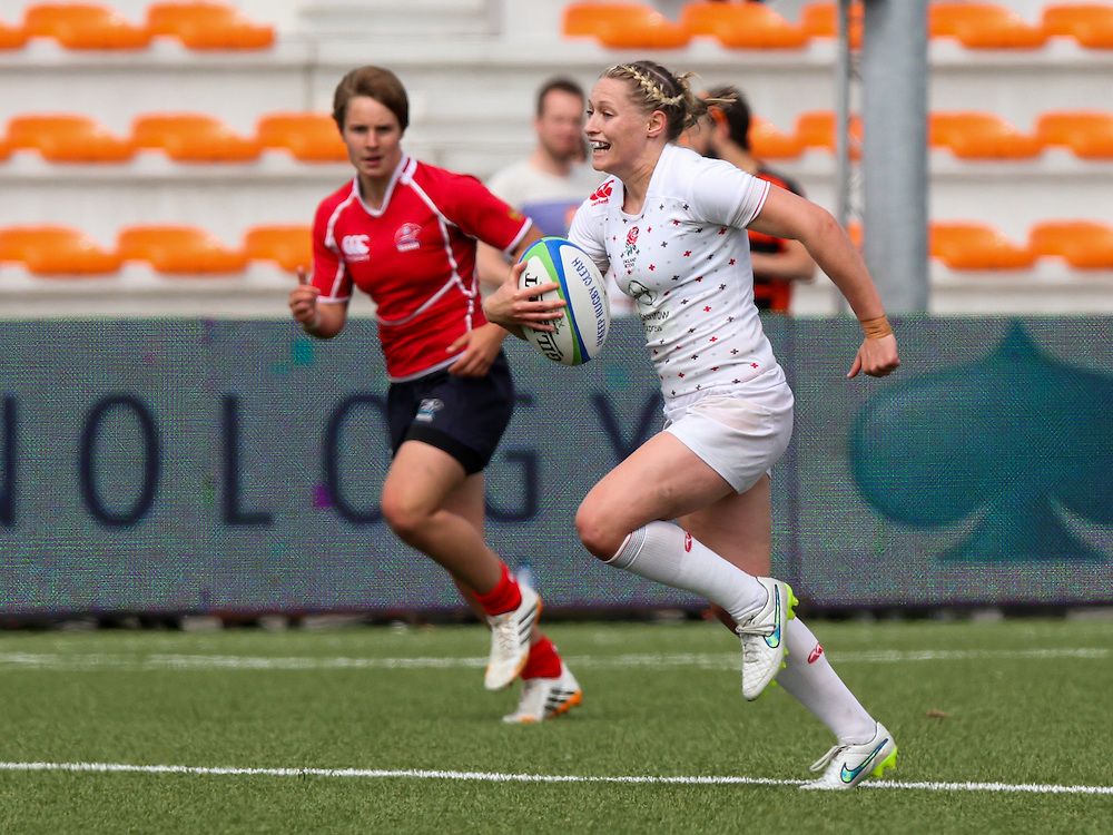 Natasha Hunt in action for England, Women's Sevens World Series - Amsterdam Leg, NRCA, Amsterdam, Netherlands, Day 1 on 22nd May 2015.