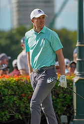 January 11, 2019 - Honolulu, HI, U.S. - HONOLULU, HI - JANUARY 11: Jordan Spieth follows his tee shot as the walks off the tee box on the first hole during the second round of the Sony Open at the Waialae Country Club in Honolulu, HI. (Photo by Darryl Oumi/Icon Sportswire) (Credit Image: © Darryl Oumi/Icon SMI via ZUMA Press)