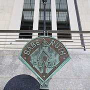 The Babe Ruth Plaza sign outside Yankee Stadium, The Bronx, New York. Photo Tim Clayton