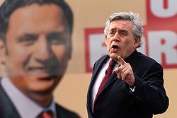 Glasgow, Scotland, UK. 5 May 2021. Scottish Labour Leader Anas Sarwar and former Prime Minister Gordon Brown appear at an eve of polls drive-in campaign rally in Glasgow today. Gordon Brown giving his speech.  Iain Masterton/Alamy Live News