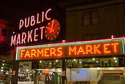 Pike's Place Market at night, Seattle, Washington