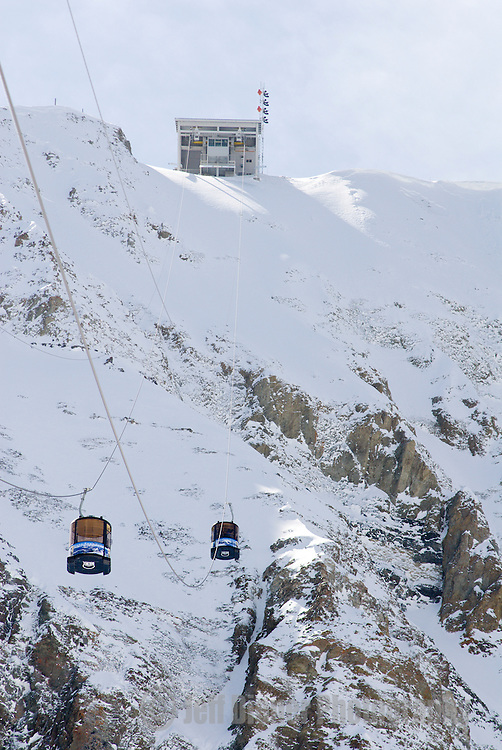 The Lone Peak tram heads for the summit of Big Sky Resort in Big Sky, Montana.