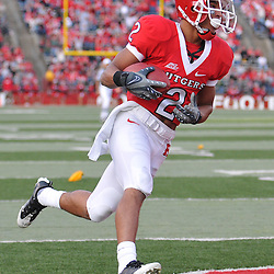 Oct 10, 2009; Piscataway, NJ, USA; Rutgers wide receiver Tim Brown (2) catches a touchdown pass during second half NCAA college football action in Rutgers' 42-0 victory over Texas Southern at Rutgers Stadium.
