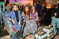 Left to right, LADY ALICE MANNERS, ROSANNA FALCONER and LADY VIOLET MANNERS at the Duresta For Matthew Williamson Exclusive Launch At Harrods, Knightsbridge, London on 10th March 2016.