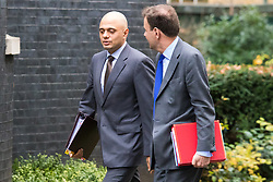 Downing Street, London, December 1st 2015. Business Secretary Sajid Javid and  Chief Secretary to the Treasury Greg Hands arrive at Downing Street for the weekly cabinet meeting. ///FOR LICENCING CONTACT: paul@pauldaveycreative.co.uk TEL:+44 (0) 7966 016 296 or +44 (0) 20 8969 6875. ©2015 Paul R Davey. All rights reserved.