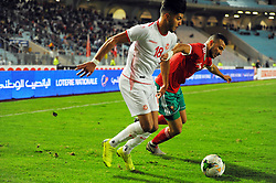 November 20, 2018 - Tunis, Tunisia - Saiss Ghanem (6)Moroccan players and Bassam Srarfi(18) during friendly Match between Tunisia and Morocco already qualified for the African Continental Tournament at the Olympic Stadium in Rades. (Credit Image: © Chokri Mahjoub/ZUMA Wire)