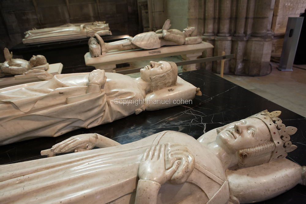 Gisants of Jeanne of Bourbon (1337 - 1378) and Charles V (1338 - 1380), Louis of Sancerre (1342 - 1402), Bertrand du Guesclin (1320 - 1380), Charles VI (1368 - 1422) and Isabeau of Bavaria (1371 - 1435) in the distance, Abbey church of Saint Denis, Seine Saint Denis, France. Picture by Manuel Cohen
