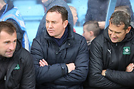 Plymouth Argyll Manager Derek Adams and his Assistants prior to the EFL Sky Bet League 1 match between Scunthorpe United and Plymouth Argyle at Glanford Park, Scunthorpe, England on 27 October 2018. Pic Mick Atkins