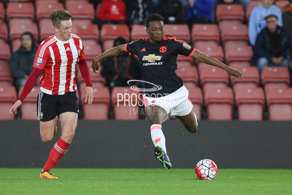 Manchester United U21 Matty Willock shoots goal during the Barclays U21 Premier League match between U21 Southampton and U21 Manchester United at the St Mary's Stadium, Southampton, England on 25 April 2016. Photo by Phil Duncan.
