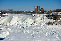 Frozen Niagara falls - the American Falls, from the Canadian side.