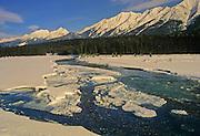 Ice on Kootenay River. Mitchell Range<br /> Kootenay National Park<br /> British Columbia<br /> Canada