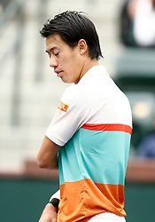 March 10, 2019 - Indian Wells, CA, U.S. - INDIAN WELLS, CA - MARCH 10: Kei Nishikori (JPN) reacts after losing a point during the second round of the BNP Paribas Open on March 10, 2019, at the Indian Wells Tennis Gardens in Indian Wells, CA. (Photo by Adam Davis/Icon Sportswire) (Credit Image: © Adam Davis/Icon SMI via ZUMA Press)