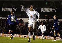 Photo: Olly Greenwood.<br />Tottenham Hotspur v Club Brugge. UEFA Cup. 02/11/2006. Spurs Dimitar Berbatov celebrates scoring his 2nd goal