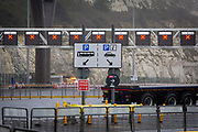 All departure lanes closed due to French border closures because of a new strain of COVID-19 at the entrance into the port of Dover in the Eastern Dock where the cross channel port is situated with ferries departing to go to Calais in France on the 21st of December 2020, Dover, Kent, United Kingdom. Dover is the nearest port to France with just 34 kilometres 21 miles between them. It is one of the busiest ports in the world. As well as freight container ships it is also the main port for P&O and DFDS Seaways ferries.