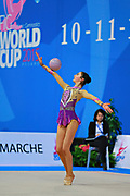 Urushadze Salome during qualifying at ball in Pesaro World Cup at Adriatic Arena on April 10, 2015. Salome was born in Tbilisi on August 27,1998. She is a rhythmic gymnast member of the Georgian National Team.