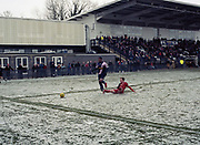 A snowy day during the Dulwich Hamlet FC vs Worthing FC at Imperial Fields KNK Stadium on 18th March 2018 in South London in the United Kingdom. Fellow South London and Bostik league team, Tooting and Mitcham United agreed to host Dulwich Hamlet for their last few games of the season in the event that they are unable to continue playing at Champion Hill due to being evicted by landlords Meadow Residential.