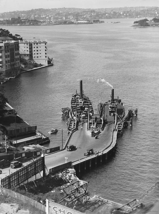 Car Ferry Harbour from Bridge, Sydney, Australia, 1930