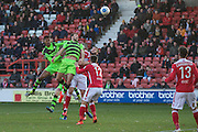 Forest Green Rovers Christian Doidge(9) heads the ball during the Vanarama National League match between Wrexham FC and Forest Green Rovers at the Racecourse Ground, Wrexham, United Kingdom on 26 November 2016. Photo by Shane Healey.