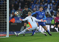 Football - 2017 / 2018 FA Cup - Quarter-Final: Leicester City vs. Tottenham Hotspur<br /> <br /> Alvaro Morata of Chelsea shoots just wide of Kasper Schmeichel and Harry Maguire, at King Power Stadium.<br /> <br /> COLORSPORT/ANDREW COWIE