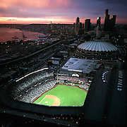 Safeco Field glows like a jewel on opening night. (Benjamin Benschneider / The Seattle Times, 1999)