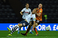 Preston North End's Jayden Stockley battles with Hull City's Matthew Pennington<br /> <br /> Photographer Dave Howarth/CameraSport<br /> <br /> The Carabao Cup Second Round - Preston North End v Hull City - Tuesday 27th August 2019  - Deepdale Stadium - Preston<br />  <br /> World Copyright © 2019 CameraSport. All rights reserved. 43 Linden Ave. Countesthorpe. Leicester. England. LE8 5PG - Tel: +44 (0) 116 277 4147 - admin@camerasport.com - www.camerasport.com