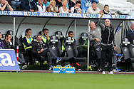 Francesco Guidolin, the Swansea city manager ® shouts from the touchline. Premier league match, Swansea city v Manchester city at the Liberty Stadium in Swansea, South Wales on Saturday 24th September 2016.<br /> pic by Andrew Orchard, Andrew Orchard sports photography.