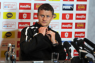 Cardiff city manager Ole Gunnar Solskjaer speaks at the Cardiff city FC press conference, Barclays Premier league pre Everton match press conf at the Vale resort Hotel in Hensol,  near Cardiff , South Wales on Friday 14th March 2014. pic by Andrew Orchard, Andrew Orchard sports photography