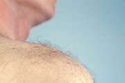 hairy shoulder of Caucasian man