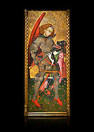 Gothic altarpiece of Archangel Michael ( Sant Miguel Arcangel) by Blasco de Branen of Saragossa, circa 1435-1445 , tempera and gold leaf on for wood.  National Museum of Catalan Art, Barcelona, Spain, inv no: MNAC   114741. Against a black background. . .<br /> <br /> If you prefer you can also buy from our ALAMY PHOTO LIBRARY  Collection visit : https://www.alamy.com/portfolio/paul-williams-funkystock/gothic-art-antiquities.html  Type -     MANAC    - into the LOWER SEARCH WITHIN GALLERY box. Refine search by adding background colour, place, museum etc<br /> <br /> Visit our MEDIEVAL GOTHIC ART PHOTO COLLECTIONS for more   photos  to download or buy as prints https://funkystock.photoshelter.com/gallery-collection/Medieval-Gothic-Art-Antiquities-Historic-Sites-Pictures-Images-of/C0000gZ8POl_DCqE