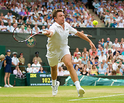 LONDON, ENGLAND - Monday, June 29, 2009: Stanislas Wawrinka (SUI) during the Gentlemen's Singles 4th Round match on day seven of the Wimbledon Lawn Tennis Championships at the All England Lawn Tennis and Croquet Club. (Pic by David Rawcliffe/Propaganda)