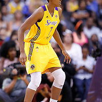 15 August 2014: Los Angeles Sparks forward/center Sandrine Gruda (7) is seen on defense during the Los Angeles Sparks 77-65 victory over the Seattle Storm, at the Staples Center, Los Angeles, California, USA.