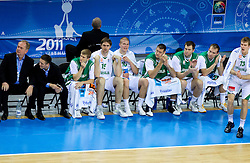 Bozidar Maljkovic, coach of Slovenia with players during basketball game between National basketball teams of Slovenia and Serbia in 7th place game of FIBA Europe Eurobasket Lithuania 2011, on September 17, 2011, in Arena Zalgirio, Kaunas, Lithuania. Slovenia defeated Serbia 72 - 68 and placed 7th. (Photo by Vid Ponikvar / Sportida)