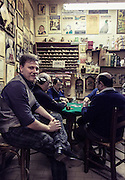 Bologna, artisan pipe lab  Bonfiglioli Pipe. cards game in the rear of the lab
