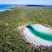 This inland pond (sometimes called a blue hole) formed when water levels were higher and reefs build up. As The water lowered the tunnels in the reef ended up inland from the sea. This blue hole is connected to the ocean underground through small tunnels, far too small for any diver. The passages also do not appear to transfer marine life either as what is found in here is far different from what is found in the ocean.