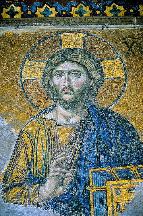"Mosaic ""Judgment Day"", Jesus Christ between the Virgin Mary and John the Baptist (12th century), Interior, Hagia Sophia museum (Aya Sofya), Istanbul, Turkey"