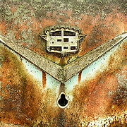 The mounting plate  for insginia is all that is left of the ornamentation on an old Cadillac that is decomposing in the Old Car City junkyard in Georgia.