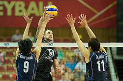 07.09.2014, Spodek, Katowice, POL, FIVB WM, Deutschland vs Süd Korea, Gruppe B, im Bild Seung-Suk Kwak, Gyorgy Grozer, Min-Ho Choi // during the FIVB Volleyball Men's World Championships Pool B Match beween Germany and South Korea at the Spodek in Katowice, Poland on 2014/09/07. <br /> <br /> ***NETHERLANDS ONLY***