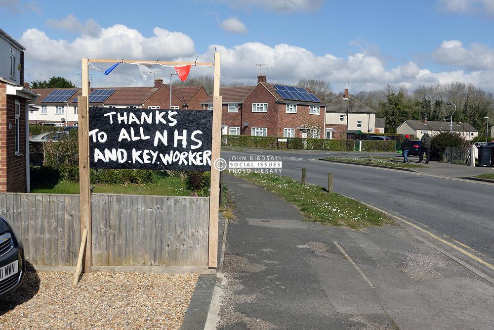 Thanks to all NHS and key worker sign outside house during Coronavirus pandemic, Tilehurst, Reading UK March 2020